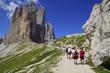 Quadro Hikers near a pass in the Drei Zinnen area