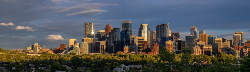 Sweeping skyline view at dusk in Calgary, Alberta. Calgary is home to many oil companies.