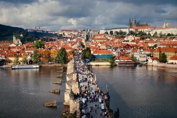 Prague skyline and bridge