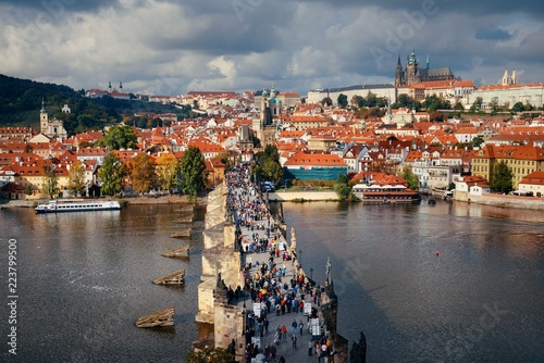 Wall mural Prague skyline and bridge