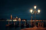 Venice at night and San Giorgio Maggiore church