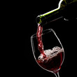 wine, glass, red, alcohol, drink, pouring, bottle, isolated,