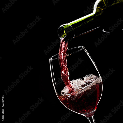 wine, glass, red, alcohol, drink, pouring, bottle, isolated,  - 223817756