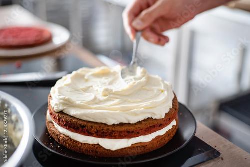 Poster chef making red velvet cake