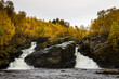Autumn Waterfall Swedish mountains - 223839518