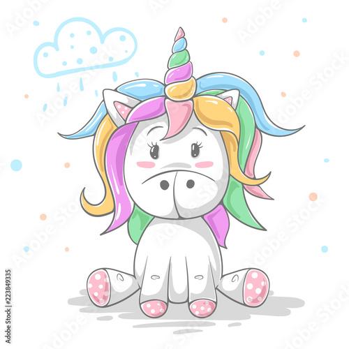 Cute teddy color unicorn. Cool illustration. © HandDraw