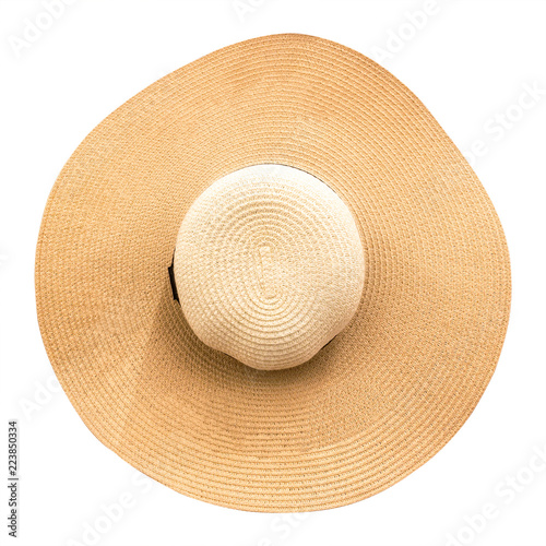 668244e1 Straw hat with ribbon isolated on white background. Top view of fashion hats  in summer