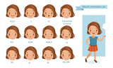 Mouth girl animation. lip sync collection for animation.  talking mouth. Accent and pronunciation speak. tongue and articulate. Cartoon vector  poses illustration isolated white background - 223852550