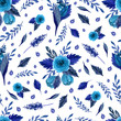 Seamless pattern with flowers, leaves, branches. Watercolor hand drawn - 223855186