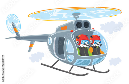 Fototapeta Helicopter with two funny badgers illustration