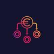 Financial diversification, diversified portfolio vector icon with euro