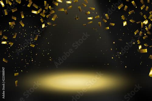 Leinwanddruck Bild konfettiregen scheinwerferlicht bühne