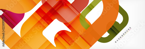 Square geometric background, multicolored template for business or technology presentation or web brochure cover layout, wallpaper. - 223891921
