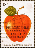 Celebration of Isaac Newton on british postage stamp