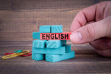 English Business and Education Concept. Colorful Wooden Blocks - 223914727