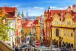 Leinwanddruck Bild - Old Prague street