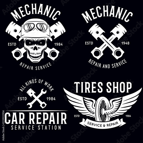Vintage Car Service Badges Templates Emblems And Design Elements Garage Repair Retro Labels