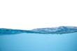 Leinwanddruck Bild - Clear blue water wave on white background