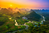 Landscape of Guilin, China. Li River and Karst mountains called Cuiping or - 223950910
