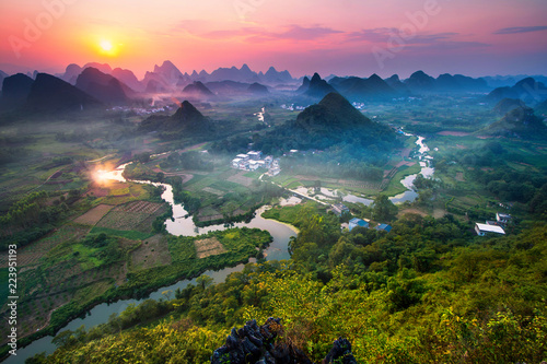 Panorama Landscape of Guilin, China. Li River and Karst mountains - 223951193