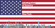 Vector illustration of New York city skyline with flag of United States of America on background
