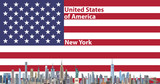 Vector illustration of New York city skyline with flag of United States of America on background - 223952385