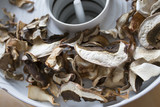 Dried mushrooms - boletus, close up in the detail - 223964722