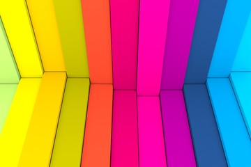 colorful abstract background with stairs wave box 3d illustration © profit_image