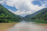 view of the confluence of two rivers and mountains - 223974147