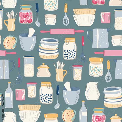 kolorowe-naczynia-kuchenne-naczynia-talerze-kubki-czajniki-wzor-na-ciemnym-tle
