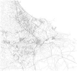 Cartina di Danzica, vista satellitare, mappa in bianco e nero. Stradario e mappa della città. Polonia