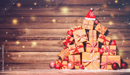 Christmas background with decorations and gift boxes - 224004920