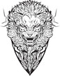 angry lion. Isolated. Coloring page.