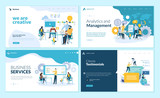 Set of web page design templates for creative and innovative solutions, business services, management and analytics, testimonials. Vector illustration concepts for website development.  - 224041102