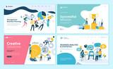 Set of web page design templates for teamwork, project management, business workflow, customer relationship management. Modern vector illustration concepts for website and mobile website development.  - 224041924