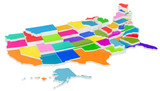 Colored United States of America map with state borders, 3D rendering