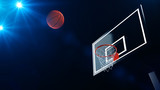3D illustration of Basketball hoop in a professional basketball arena. © artemegorov