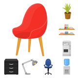 Interior of the workplace cartoon icons in set collection for design. Office furniture vector symbol stock web illustration. - 224068369