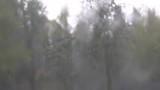heftiger Regen prasselt auf die Windschutzscheibe eines stehenden Autos - 224073985