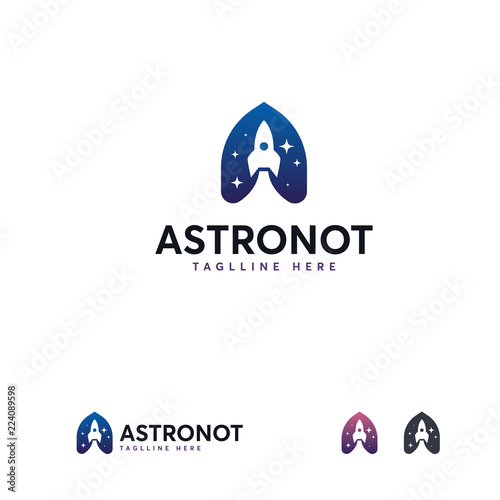 astronaut logo designs template a initial space logo designs