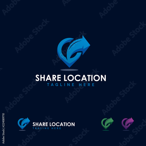 Share Location Logo Designs Template Point And Arrow