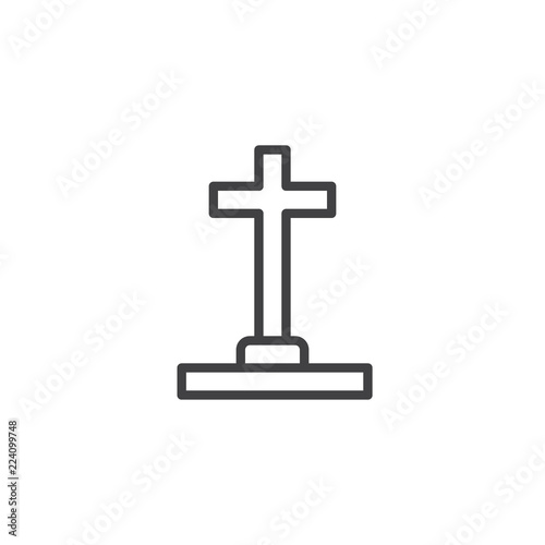 Halloween Cross Grave Outline Icon Linear Style Sign For Mobile