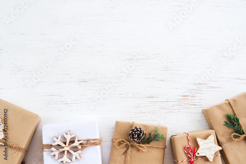 christmas background handmade present gift boxes with tag for merry christmas and new year holiday