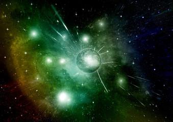 Stars, dust and gas nebula in a far galaxy © marusja2