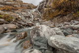 Waterfall in the mountains. Kavkaz. Dombay.