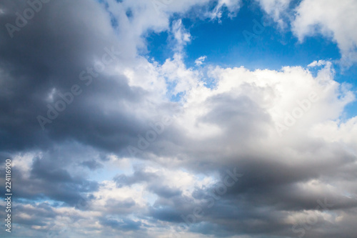 White clouds in blue sky, natural background - 224116900