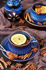 Hot tea with lemon. Healthy drink.