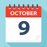 October 9 - Calendar Icon - 224122392
