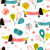Seamless pattern with dachshund dog and balloons