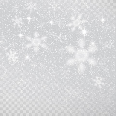 Grey transparent winter background with snowflakes.